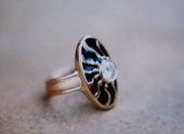 Wedding Ring: Diamond, 18ct gold, enamel.