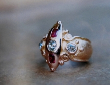 Comission with old jewellery, remade for Lisa Zeffert. Diamonds, rubies, 22ct red gold.